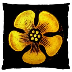 Yellow Flower Stained Glass Colorful Glass Standard Flano Cushion Case (one Side) by Onesevenart