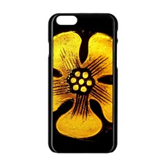 Yellow Flower Stained Glass Colorful Glass Apple Iphone 6/6s Black Enamel Case by Onesevenart
