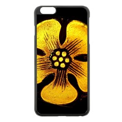 Yellow Flower Stained Glass Colorful Glass Apple Iphone 6 Plus/6s Plus Black Enamel Case by Onesevenart