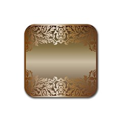 Floral Decoration Rubber Coaster (square)  by Onesevenart