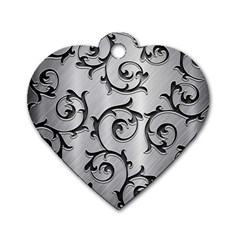 Floral Dog Tag Heart (one Side) by Onesevenart