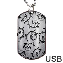 Floral Dog Tag Usb Flash (two Sides) by Onesevenart