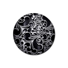 Floral High Contrast Pattern Rubber Coaster (round)  by Onesevenart