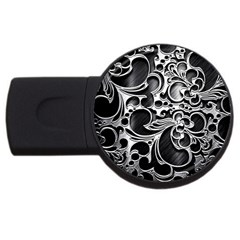 Floral High Contrast Pattern Usb Flash Drive Round (2 Gb) by Onesevenart