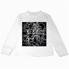 Floral High Contrast Pattern Kids Long Sleeve T Shirts by Onesevenart