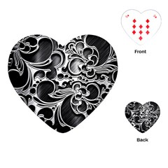 Floral High Contrast Pattern Playing Cards (heart)  by Onesevenart