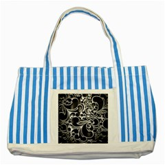 Floral High Contrast Pattern Striped Blue Tote Bag by Onesevenart
