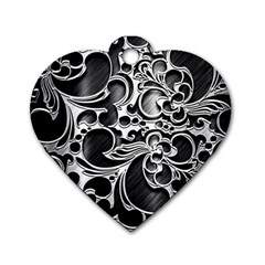 Floral High Contrast Pattern Dog Tag Heart (two Sides) by Onesevenart