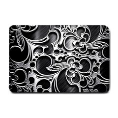 Floral High Contrast Pattern Small Doormat  by Onesevenart