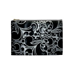 Floral High Contrast Pattern Cosmetic Bag (medium)  by Onesevenart