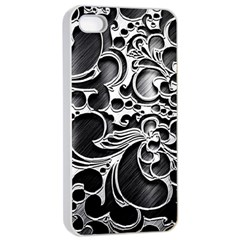 Floral High Contrast Pattern Apple Iphone 4/4s Seamless Case (white) by Onesevenart