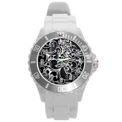 Floral High Contrast Pattern Round Plastic Sport Watch (l) by Onesevenart