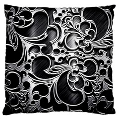 Floral High Contrast Pattern Large Cushion Case (two Sides) by Onesevenart