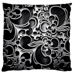 Floral High Contrast Pattern Large Flano Cushion Case (one Side) by Onesevenart