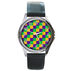 Mardi Gras Checkers Round Metal Watch by PhotoNOLA