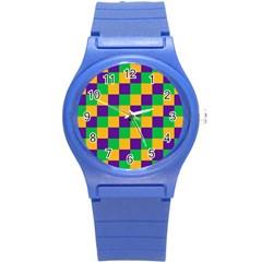 Mardi Gras Checkers Round Plastic Sport Watch (s) by PhotoNOLA