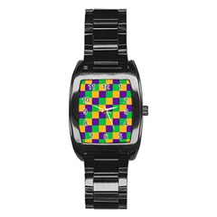 Mardi Gras Checkers Stainless Steel Barrel Watch by PhotoNOLA