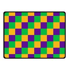 Mardi Gras Checkers Double Sided Fleece Blanket (small)  by PhotoNOLA