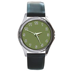 Mardi Gras Checker Boards Round Metal Watch by PhotoNOLA
