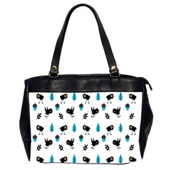 Bird Beans Leaf Black Blue Office Handbags (2 Sides)  by Alisyart