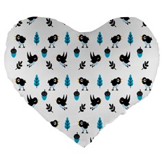 Bird Beans Leaf Black Blue Large 19  Premium Flano Heart Shape Cushions by Alisyart