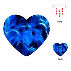 Blue Flame Light Black Playing Cards (heart)  by Alisyart