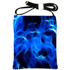 Blue Flame Light Black Shoulder Sling Bags by Alisyart