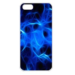 Blue Flame Light Black Apple Iphone 5 Seamless Case (white) by Alisyart