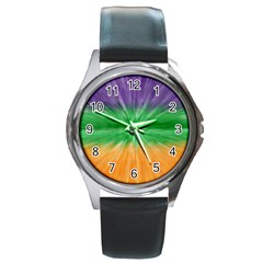 Mardi Gras Tie Die Round Metal Watch by PhotoNOLA