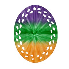 Mardi Gras Tie Die Oval Filigree Ornament (two Sides) by PhotoNOLA
