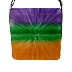 Mardi Gras Tie Die Flap Messenger Bag (l)  by PhotoNOLA