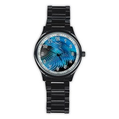 Waves Wave Water Blue Hole Black Stainless Steel Round Watch by Alisyart