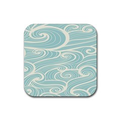Blue Waves Rubber Square Coaster (4 Pack)  by Alisyart