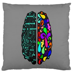 Emotional Rational Brain Large Flano Cushion Case (one Side) by Alisyart