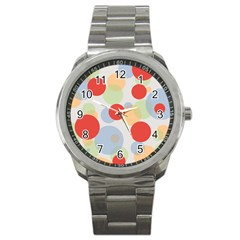 Contrast Analogous Colour Circle Red Green Orange Sport Metal Watch by Alisyart