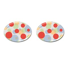 Contrast Analogous Colour Circle Red Green Orange Cufflinks (oval) by Alisyart