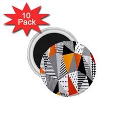 Contrast Hero Triangle Plaid Circle Wave Chevron Orange White Black Line 1 75  Magnets (10 Pack)  by Alisyart