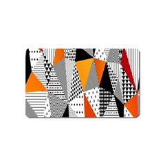 Contrast Hero Triangle Plaid Circle Wave Chevron Orange White Black Line Magnet (name Card) by Alisyart
