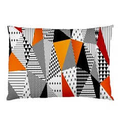 Contrast Hero Triangle Plaid Circle Wave Chevron Orange White Black Line Pillow Case by Alisyart