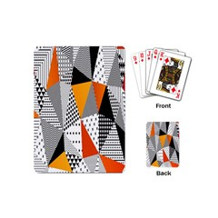 Contrast Hero Triangle Plaid Circle Wave Chevron Orange White Black Line Playing Cards (mini)  by Alisyart
