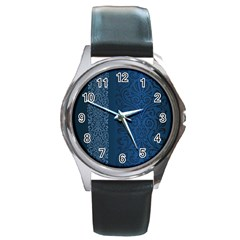 Fabric Blue Batik Round Metal Watch by Alisyart