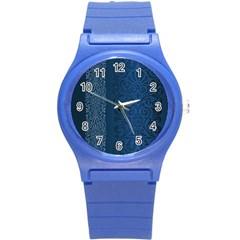 Fabric Blue Batik Round Plastic Sport Watch (s) by Alisyart