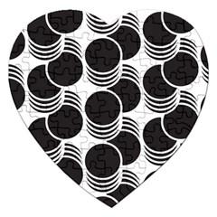 Floral Geometric Circle Black White Hole Jigsaw Puzzle (heart) by Alisyart