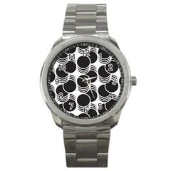 Floral Geometric Circle Black White Hole Sport Metal Watch by Alisyart