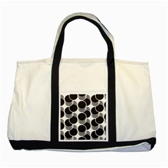 Floral Geometric Circle Black White Hole Two Tone Tote Bag by Alisyart