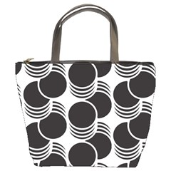 Floral Geometric Circle Black White Hole Bucket Bags by Alisyart