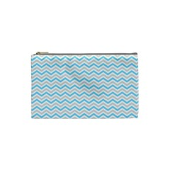Free Plushie Wave Chevron Blue Grey Gray Cosmetic Bag (small)  by Alisyart