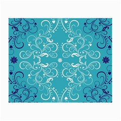 Flower Leaf Floral Love Heart Sunflower Rose Blue White Small Glasses Cloth (2 Side) by Alisyart