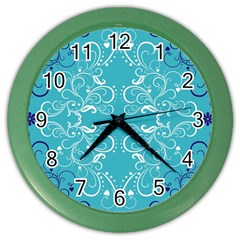 Flower Leaf Floral Love Heart Sunflower Rose Blue White Color Wall Clocks by Alisyart