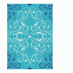 Flower Leaf Floral Love Heart Sunflower Rose Blue White Small Garden Flag (two Sides) by Alisyart